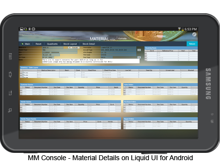 MM Console - Material Details on Android Screen