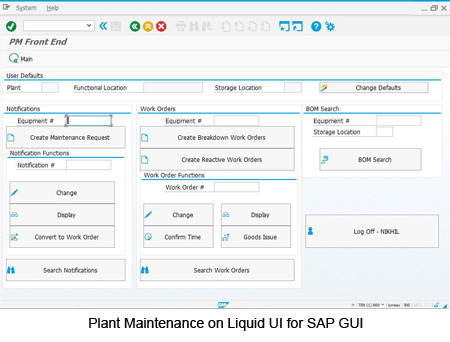 Plant Maintenance on Liquid UI for SAP GUI