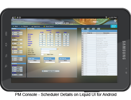 PM Console - Scheduler Details Android Screen