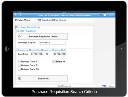 Purchase Requisition Search Criteria Screen